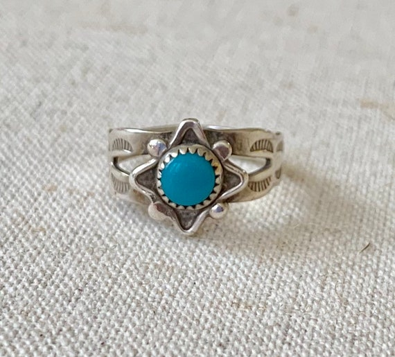 Tiny Turquoise Ring Small Girl Ring Child Kids Pinky Rings Vintage 50s Hand Stamped Sterling Silver Native American Bell Trading Size 3.75