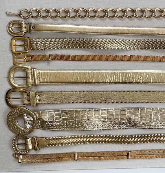 Gold Metallic Belt Belts Mostly Vintage 80s Women's Belts Minimalist Simple Chain Link Braided Mesh