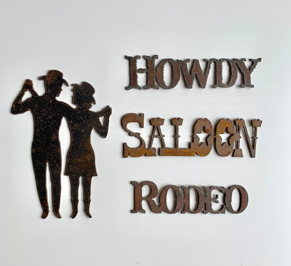 Forged Iron Western Sign Decal Medallion Plaque Vintage Home Ranch Cabin Decor Howdy Saloon Rodeo Cast Iron