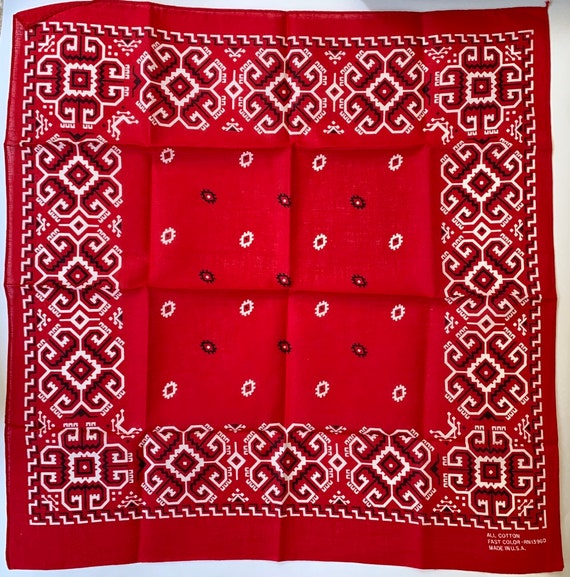 Fast Color Red Bandana All Cotton Tribal Geometric Print Vintage RN 13960 Made in USA
