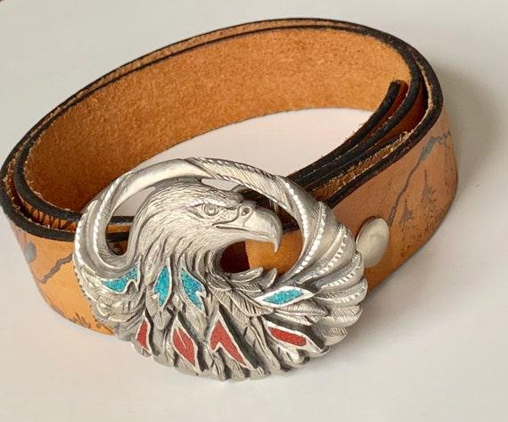 Eagle Turquoise Leather Belt Vintage EJC Bald Eagle Buckle with Crushed Turquoise Coral Tooled Brown Strap Mountain Scene