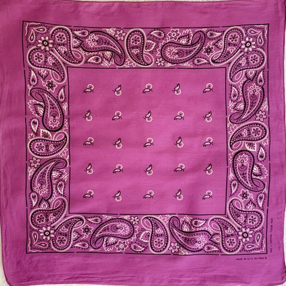 Purple White Bandana Vintage 70s All Cotton Color Fast Made in USA RN 13962 Paisley Floral