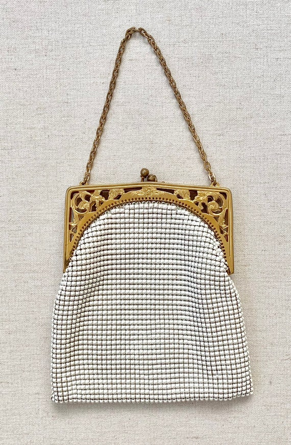 Whiting & Davis Mesh Purse Vintage 50's White Metal Chain Mail Gold Tone Frame Chain Strap Wristlet Evening Bag