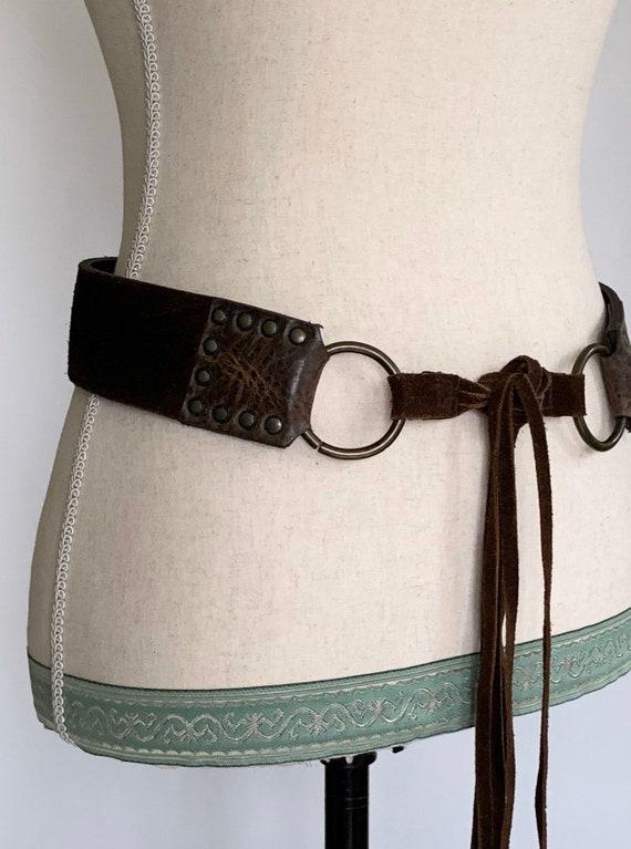 "Tie Waist Leather Belt Vintage Dark Brown Suede Leather Horse Bit Detail Fringe Ties Brass Studs 2"" Wide Made in Canada"