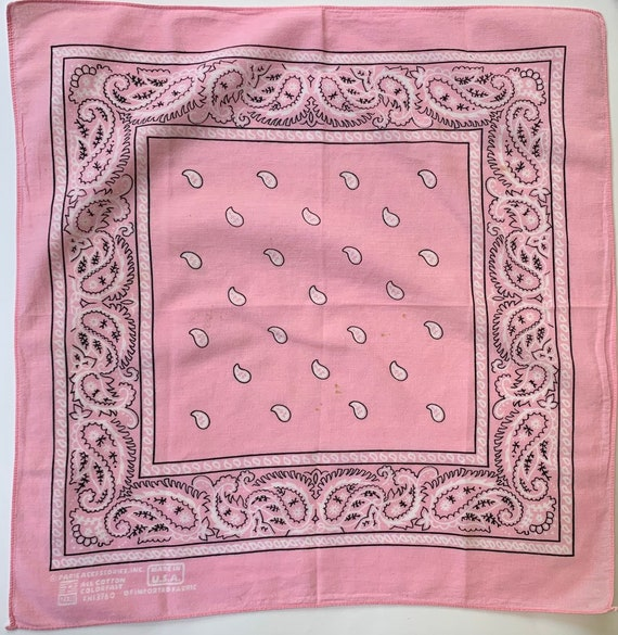 Faded Light Pink Bandana Vintage Paris Accessories Colorfast RN 13960 Super Soft 100% Cotton Faded Paisley Scarf Made in USA