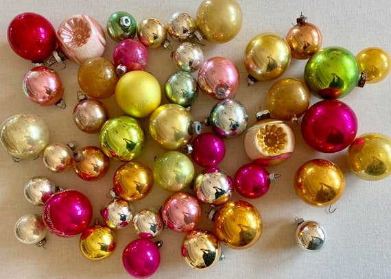 Multi Color Glass Bulb Ornaments Mixed Lot of 45 Silver Gold Pink Chartreuse Green Magenta Christmas Tree Decor
