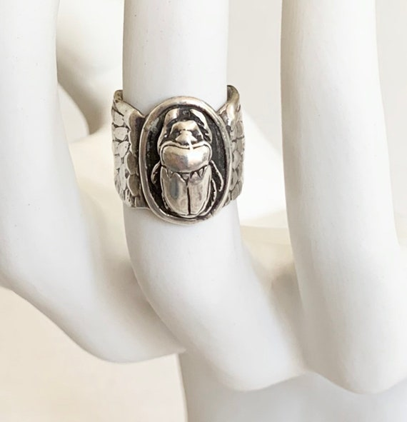 Fabulous Scarab Ring Wide Cigar Band Egyptian Revival Style Sterling Silver Beetle Wide Wing Winged Band 7.5