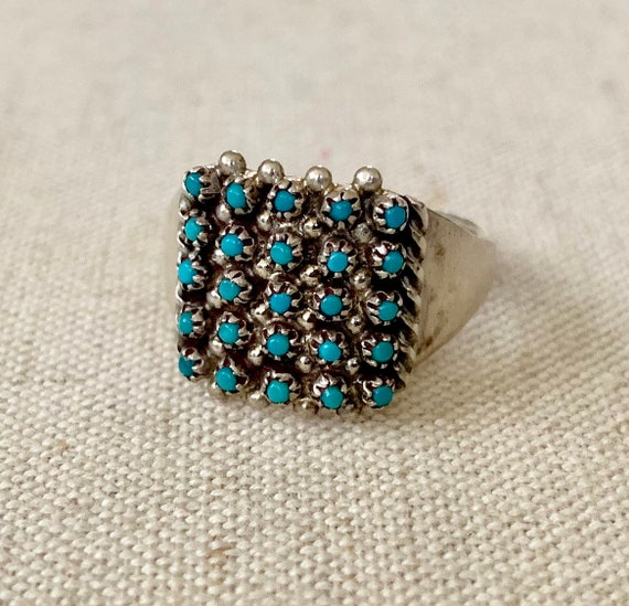 Petit Point Turquoise Ring Band Super Delicate and Dainty Vintage Native American Zuni Sterling Silver Artist Signed Ring Size 7.5