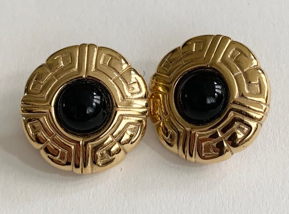 Signed Givenchy Gold Earrings Vintage Signature Logo Design Black Stone Round Circle Disc Pierced Studs