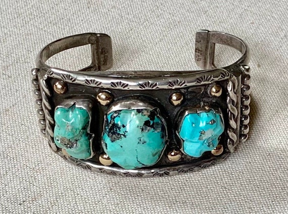 Heavy Turquoise Bracelet Cuff Native American Navajo Sterling Silver Turquoise Nugget Hand Stamped