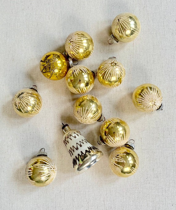 West Germany Gold Ornaments Ornament Lot of 12 Glass Christmas Bulbs Holiday Decor Glitter Snowflake Star Metal Top