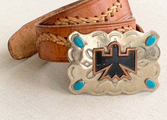 Bell Trading Turquoise Belt Buckle Distressed Leather Strap with Stitched Detailing Vintage 50s Trading Post Nickel Silver Faux Turquoise