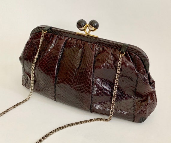 80's Snakeskin Purse Clutch Convertible Handbag Shoulder Bag Vintage Dark Aubergine Eggplant Black Gold Tone Hardware Chain Strap