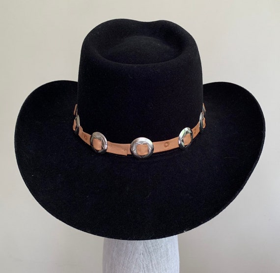 Wool Black Cowboy Hat Vintage Bradford Western Felted Wool Stamped Leather and Concho Hat Band Mens Hats Size 7-1/4
