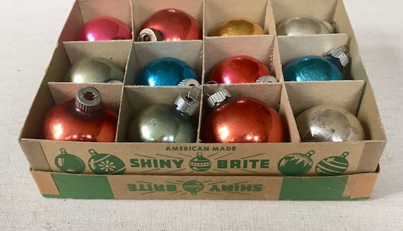Shiny Brite Christmas Ornaments Lot of 12 in Original Box Vintage 50s Silver Gold Blue Red Multi Color