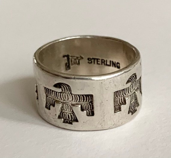 Bell Trading Thunderbird Ring Band Vintage 50s Native American Navajo Sterling Silver Wide Cigar Band Size 5