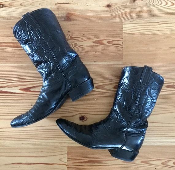 Mens 9 Cowboy Boots Tony Lama Mens Cowboy Boots Vintage Black Leather Western Shoes