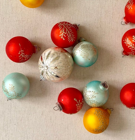 West Germany Ornament Lot Glass Christmas Bulbs Holiday Decor Tomato Red Aqua Blue Silver Gold Glitter Snowflake Stamped DGM