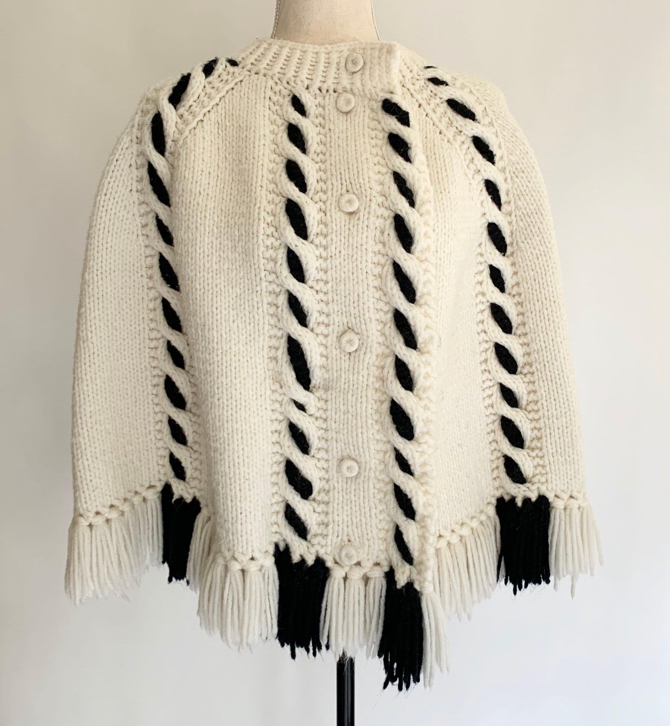 Hand Knit Cape Poncho Sweater Vintage 70s White Winter Black