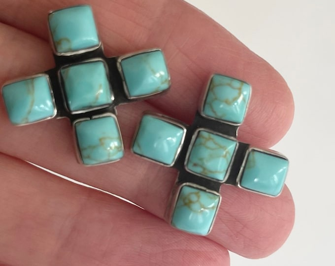 Large Cross X Earrings Vintage Sterling Silver 925 Faux Turquoise Stud Earrings Likely Taxco Mexico
