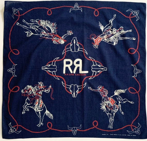 Double RL Bandana True Indigo Vintage RRL Red White Blue Cowboy Lasso Skull Ralph Lauren Western Print Made in Japan