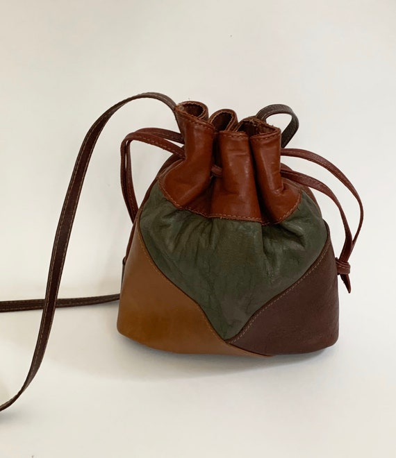 Leather Pouch Purse Bag Cross Body Handmade Vintage Drawstring Closure Super Buttery Soft Patchwork Brown Caramel Burgundy Made in Columbia