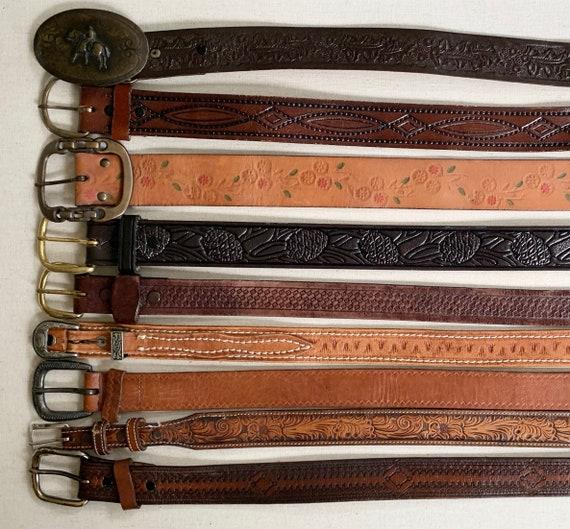 Western Tooled Leather Belt Distressed Leather Goods Brown Belt Strap Buckle Vintage Mens Women's Belts