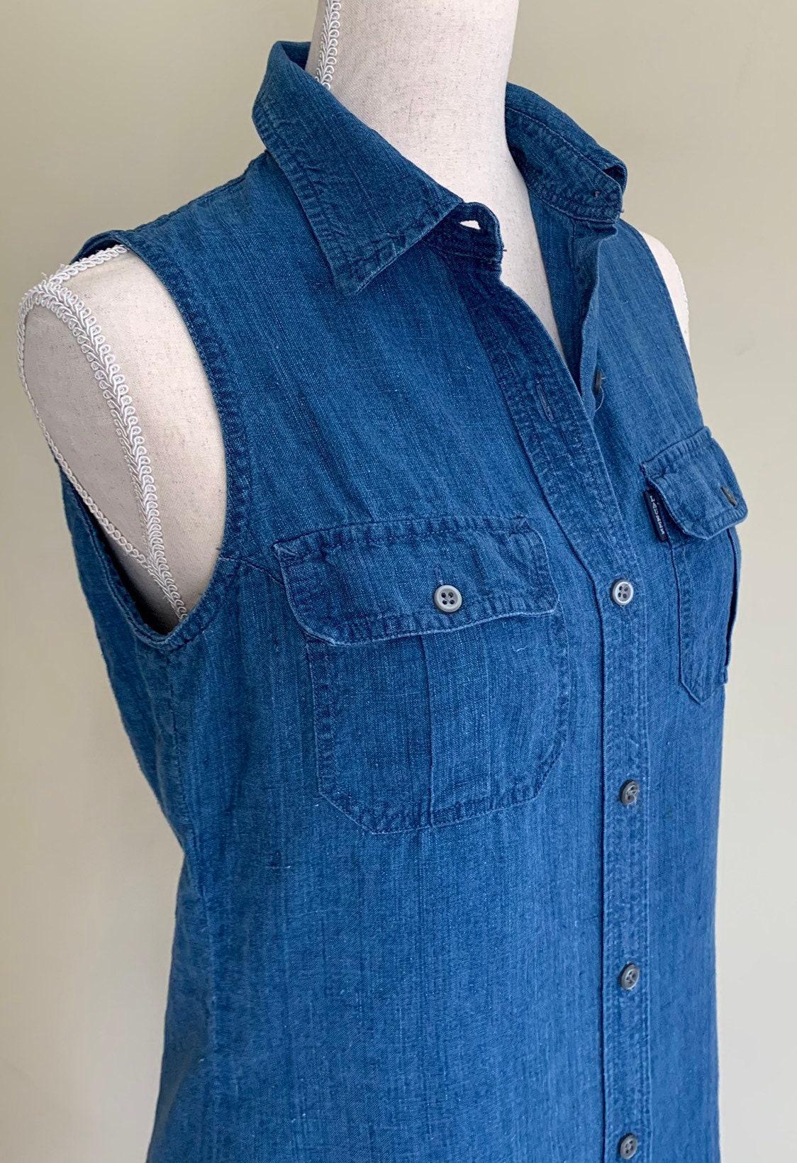 0ca9ce300d Indigo Linen Shirt Dress Ralph by Ralph Lauren Vintage 90s Sleeveless  Button Down Long Maxi Midi Length Blue Denim Jean