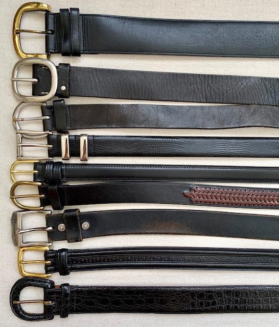 Plain Black Leather Belt Belts Vintage Mens Women's Belts Minimalist Simple Classic Style Upcycle