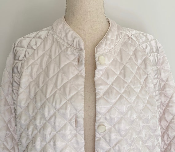 Quilted Satin Bed Jacket Smoking Jacket Vintage Very Pale Ballet Powder Pink Nightwear Sleepwear