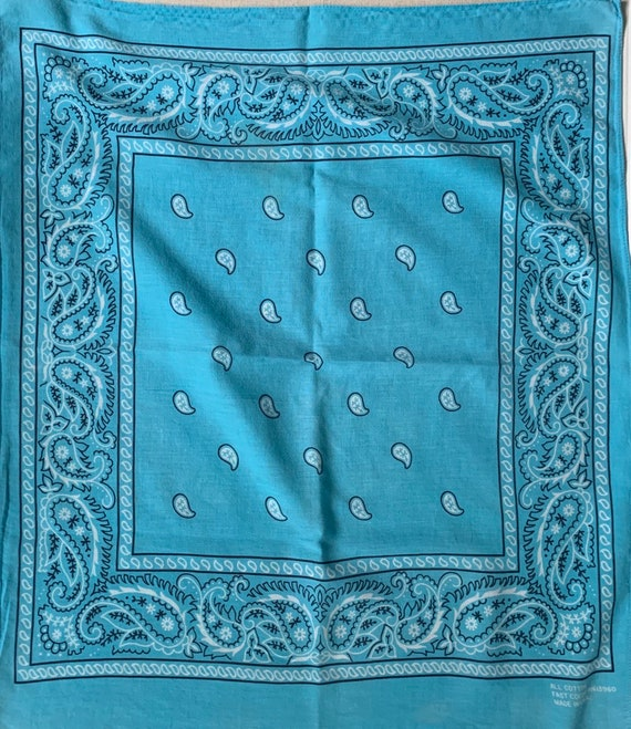 Vintage Faded Turquoise Bandana Fast Color Made in USA All Cotton Paisley Cowboy Scarf