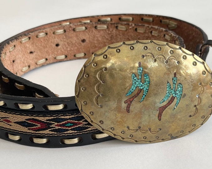 Navajo Brass Turquoise Buckle Signed AJ Vintage 70s Native American Stamped Turquoise Red Coral Chip Inlay Peyote Bird Leather Strap