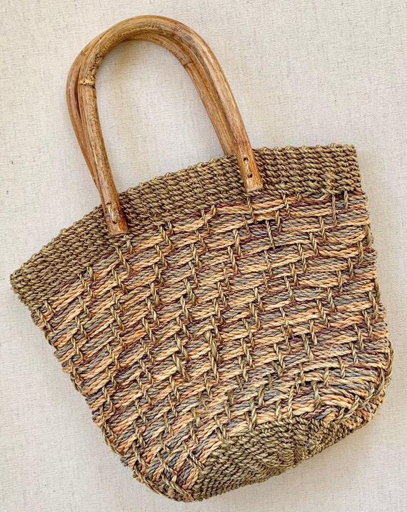 Straw Sisal Basket Purse Bag Tote Vintage 80s Bamboo Top Handles Beige Moss Green Made in Philippines