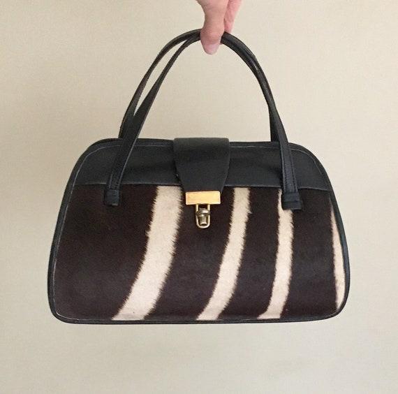 Cowhide Leather Purse Bag Vintage Handmade Top Handle Bags Gold Tone Closure Black Brown White