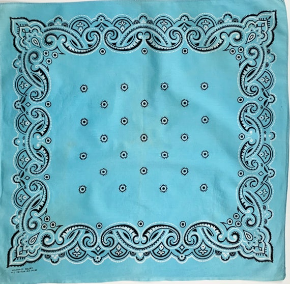 Turquoise Blue Cotton Bandana Vintage 60s All Cotton Black White Paisley Print Selvedge Edge Soft Faded Patina