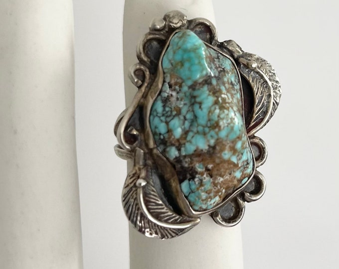 Large Navajo Turquoise Nugget Ring Sterling Silver Vintage Native American Sterling Silver Leaf Feather Detail 5.75