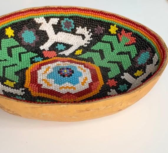Older Huichol Gourd Bowl Tray Vintage Native American Intricate Beaded Beadwork Southwest Pictograph Art Object Fine Art