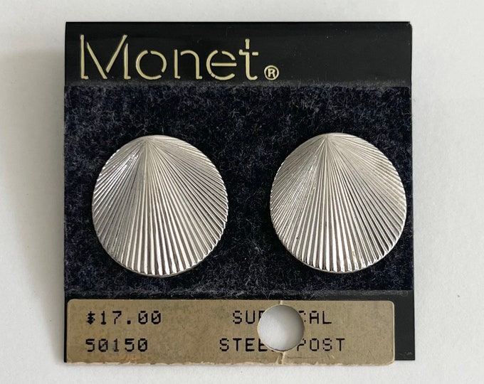 Signed Silver Earrings Shell Round Circle Disc Pierced Studs Vintage 80s Signed Costume Jewelry Original Packing