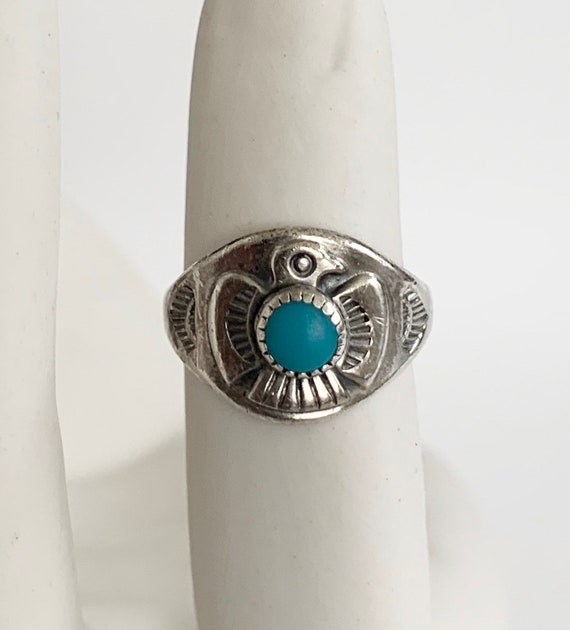 Bell Trading Thunderbird Ring Band Vintage 50s Native American Navajo Sterling Silver Size 5.25