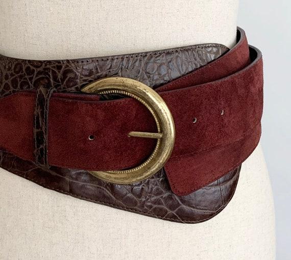 Wide Oxblood Leather Belt Vintage 80s Compagnie Internationale Express Made in Korea Dark Brown Reptile Embossed Brass Buckle Women's XS S