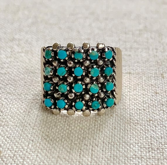 Petit Point Turquoise Cigar Band Ring Vintage Native American Zuni Sterling Silver Ring Size 5.25