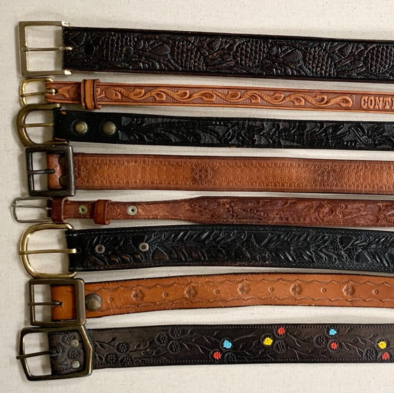 Western Tooled Leather Belt Distressed Leather Goods Brown Belt Strap Buckle Vintage Mens Women's Belts