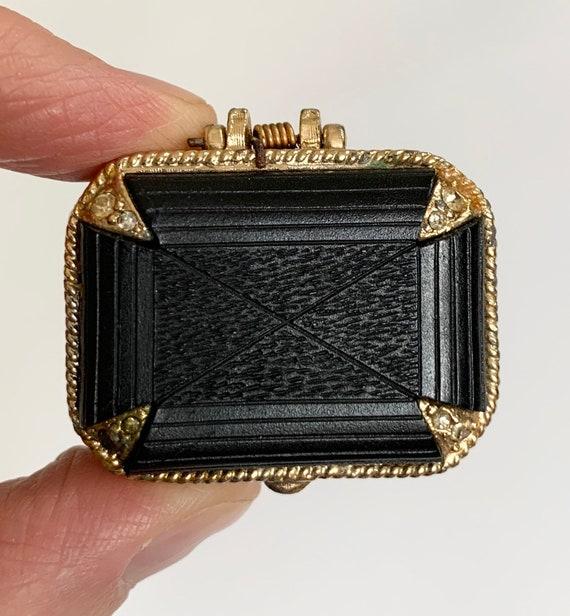 Vintage Pill Box Gold Tone Black Bakelite Hinged Lid Mid Century MCM Rectangle Small Tiny Trinket Jewelry Box