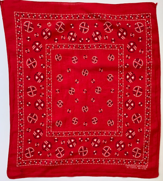 50s 60s Red Bandana Fast Color Vintage All Cotton RN 14193 Circles Geometric Print