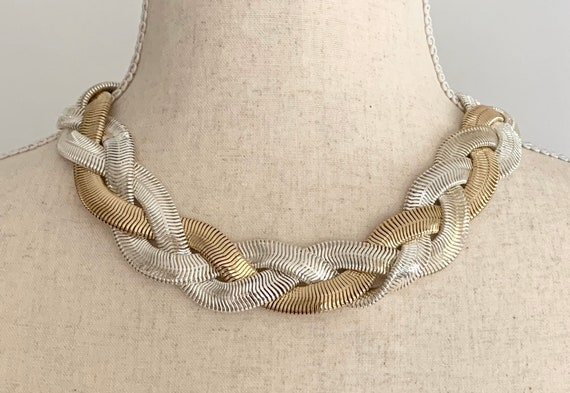 80s Monet Braided Necklace Choker Vintage Slinky Serpentine Liquid Link Gold and Silver Tone 18.5""