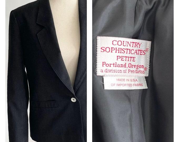 Pendleton Charcoal Gray Jacket Blazer Vintage Country Sophisticates Portland Made in USA Minimalist Basic Style Silk Blend Petite XS