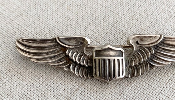 WWII Sterling Wings Pin Vintage Air Force Military Militaria Sterling Silver Pilot Wing Lapel Pin