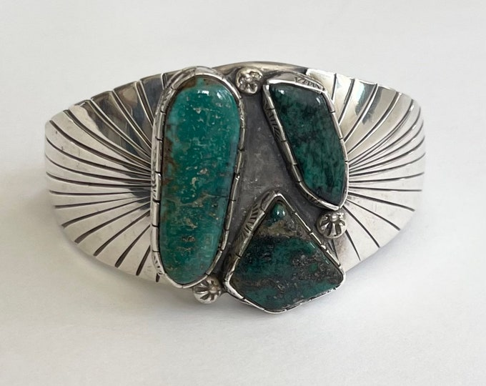 Stunning Navajo Turquoise Cuff Bracelet Vintage Native American Sterling Silver Turquoise Wide Statement Jewelry