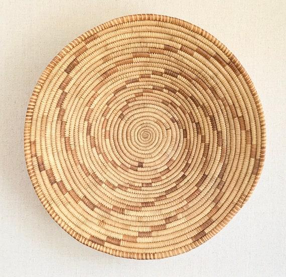 Finely Crafted Handwoven Basket Bowl Coil Swirl Vintage Native American Handmade Coil Baskets Circle Round