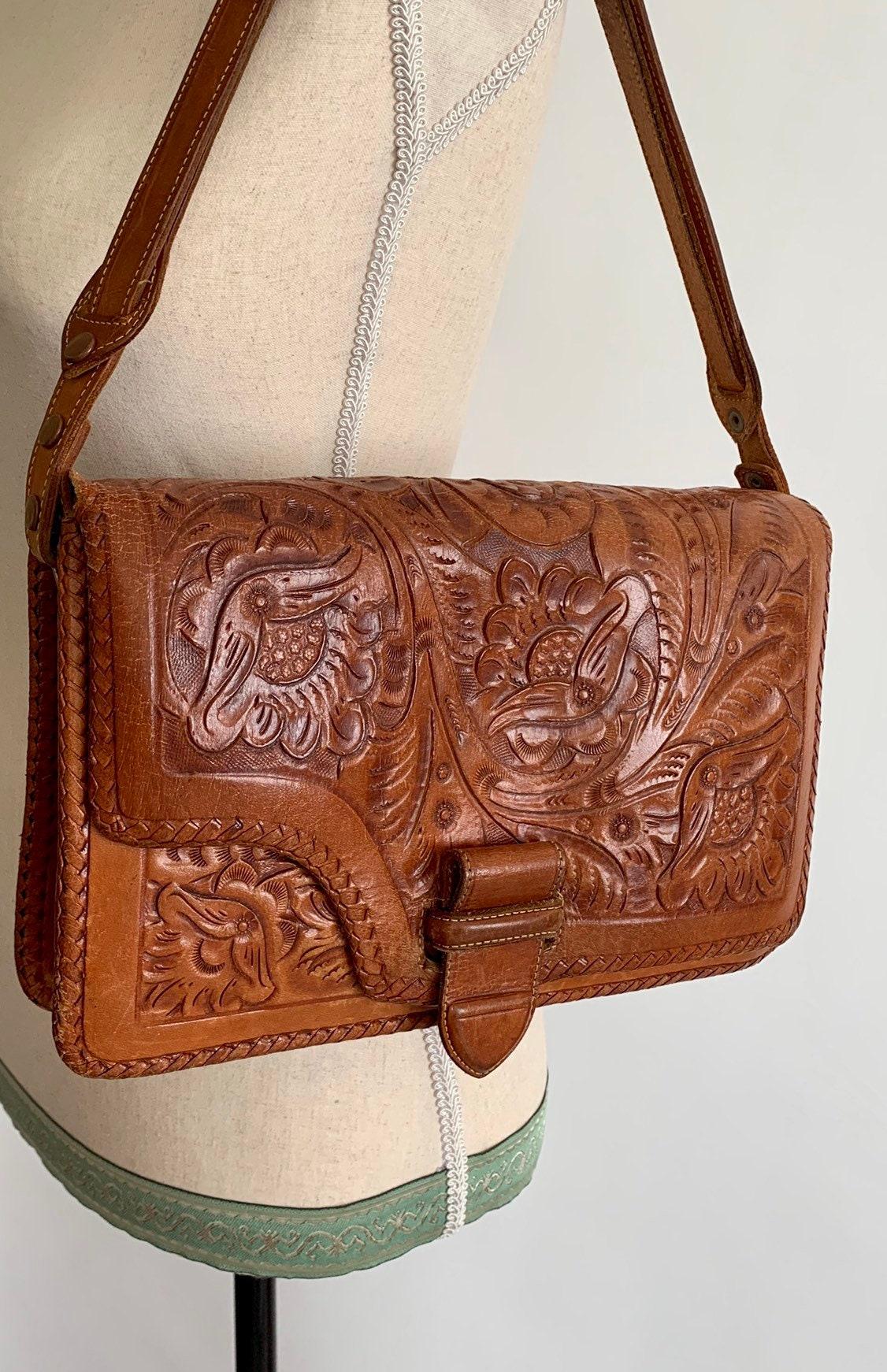 Tooled Leather Purse Handbag Vintage 60s 70s Dark Brown